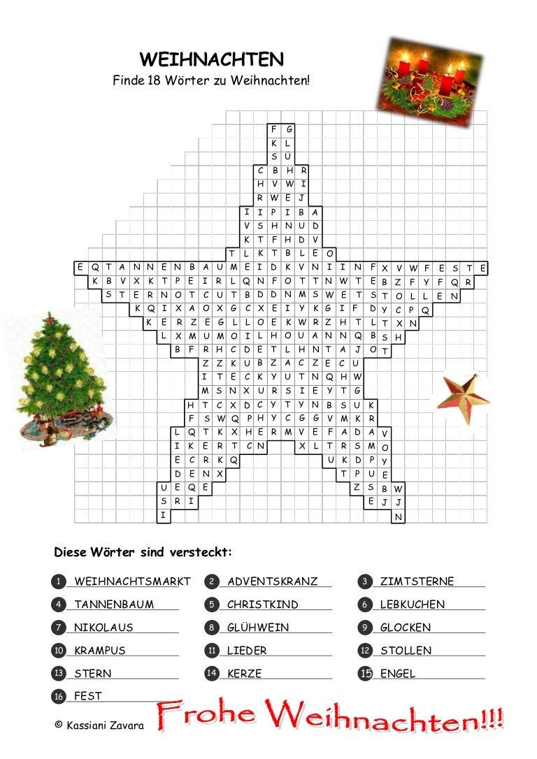 Weihnachten Wörter.Suchsel Weihnachten
