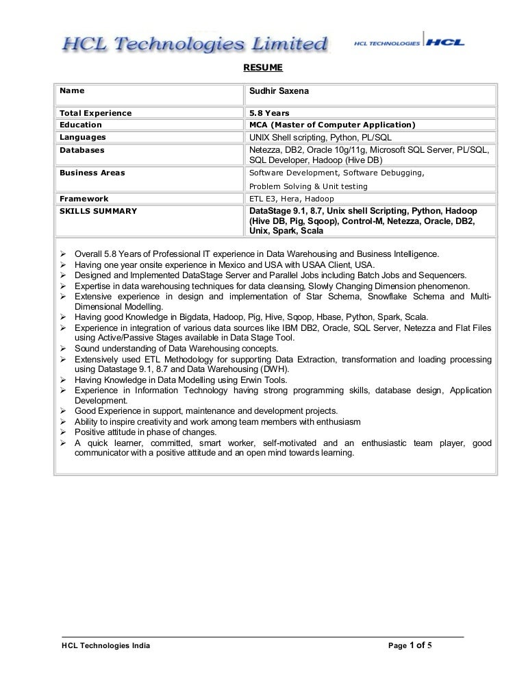 Sudhir hadoop and Data warehousing resume