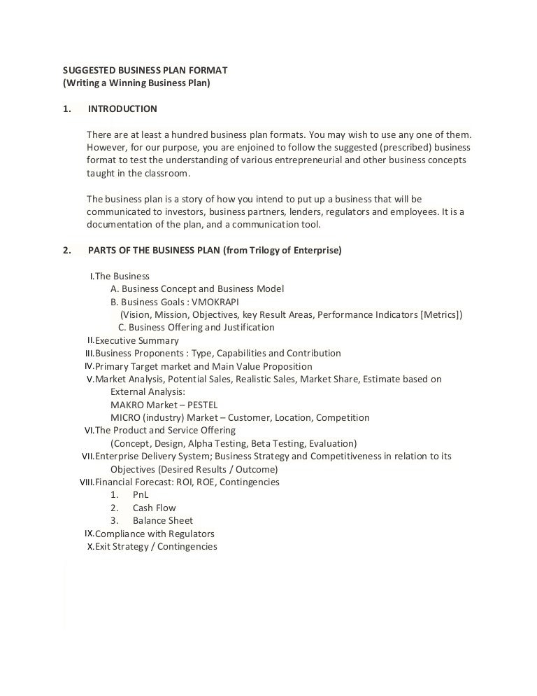 suggested business plan format