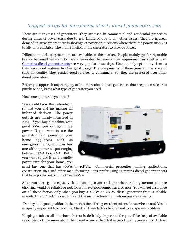Suggested tips for purchasing sturdy diesel generators sets