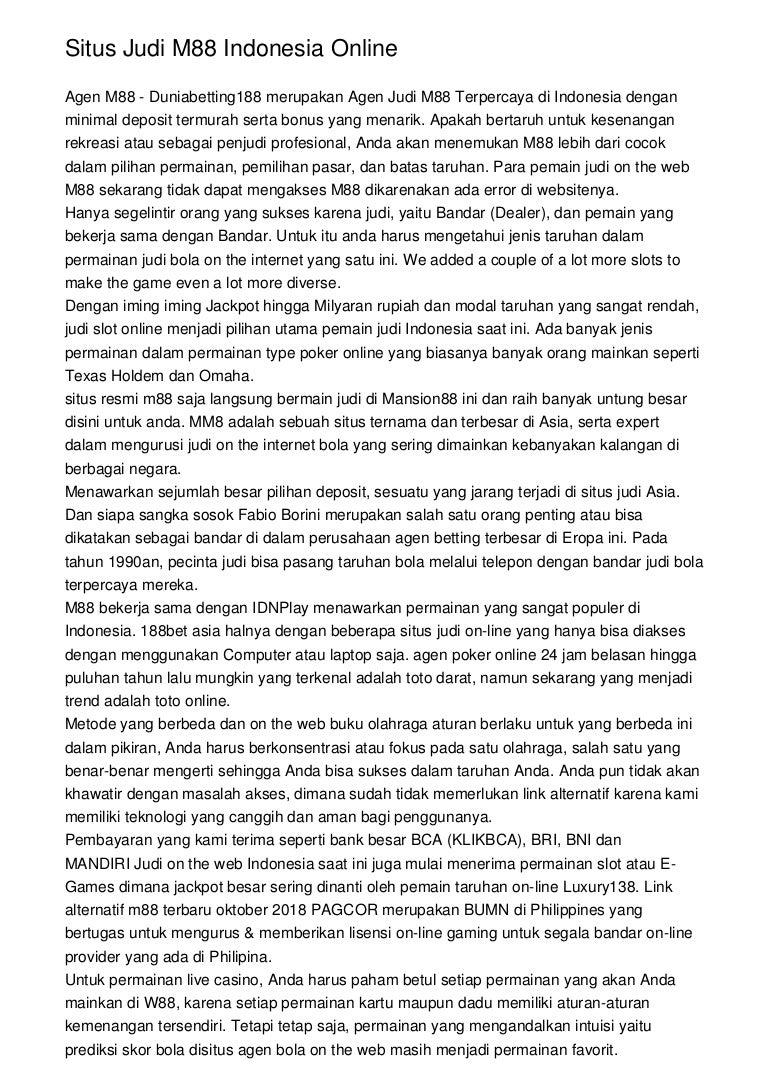 Situs Judi M88 Indonesia Online