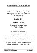 Bac STMG (Sciences et technologies du Management et de la Gestion) 2016 : les sujets de l'épreuve de la spécialité BAC STMG Mercatique (Marketing) Métropole France 2016 «PAYSAN BRETON» sur  www.SuperProfesseur.com par Ronald Tintin, Ronning Against Cancer