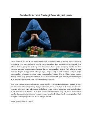 Sumber informasi strategi bermain judi poker