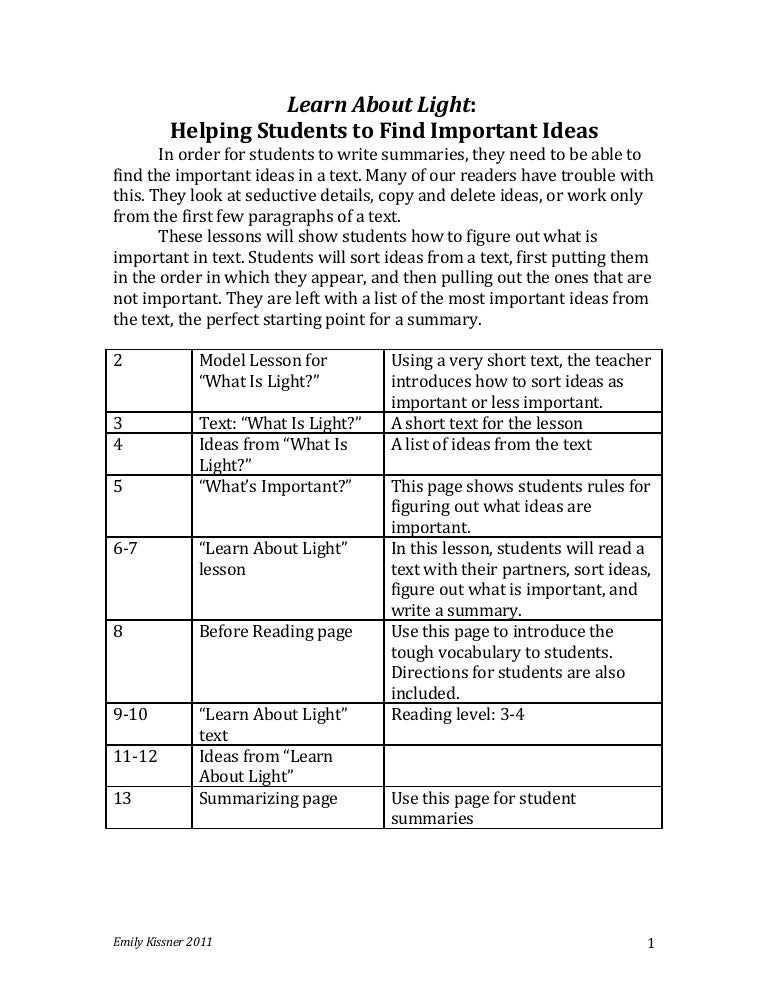 lesson for teaching nonfiction summarizing