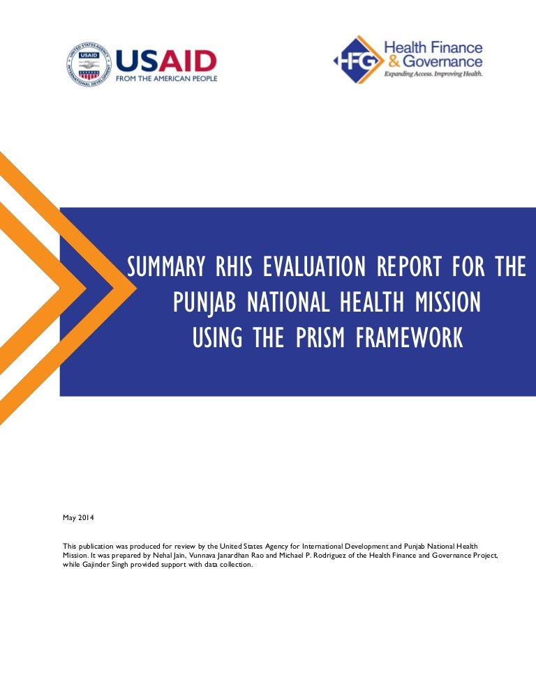 Summary Rhis Evaluation Report For The Punjab National Health Mission…