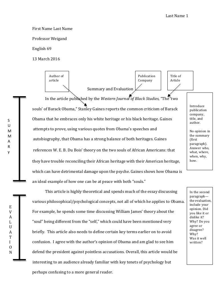 summary evaluation sample