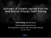 Summary of Insights Learned from the Data Science Program Team Training