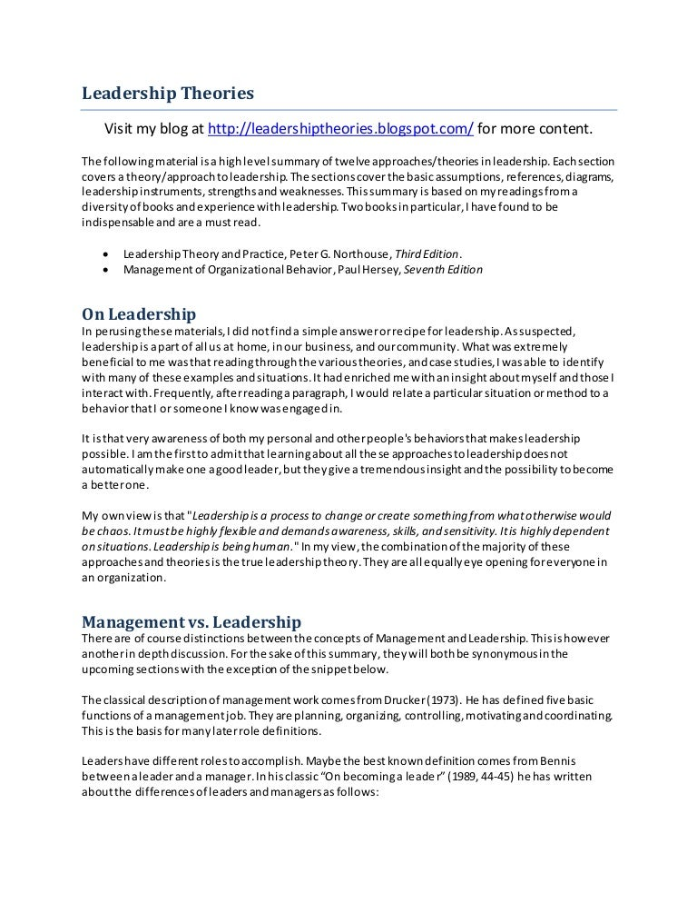 summary of leadership theories and management comparison