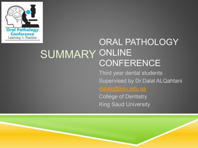 Summary (pediatric oral pathology)