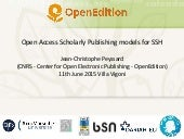 Open Access Scholarly Publishing models for SSH