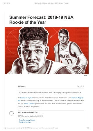 Summer forecast 2018 19 nba rookie of the year