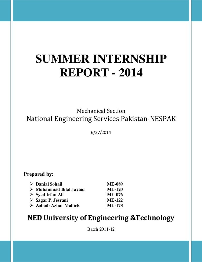 Summer Internship Report National Engineering Services Pakistan 2014