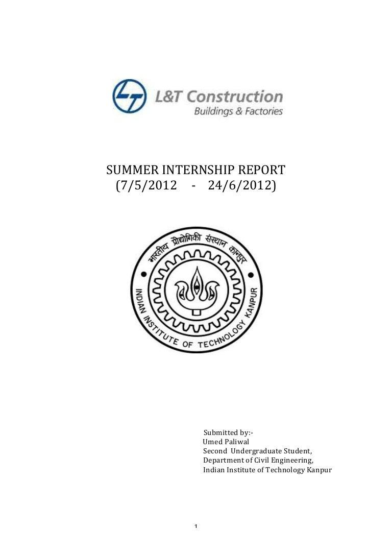 summer internship report l u0026t