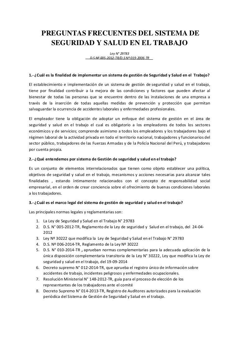 Sunafil Preguntas sobre Seguridad y Salud en el Trabajo (Perú)