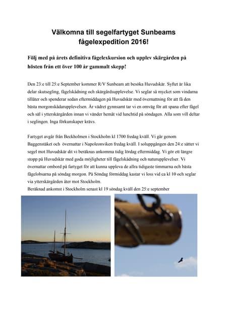 Sunbeam fågelexpedition 2016 uppdaterad 17 aug