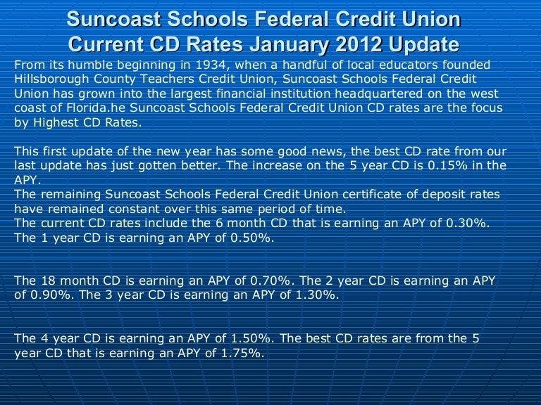 Suncoast schools federal credit union current cd rates january 2012 u…