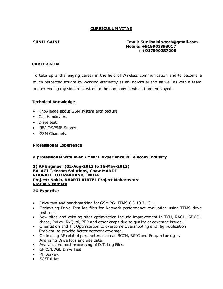 sunil saini rf engineer - Rf Engineer Sample Resume