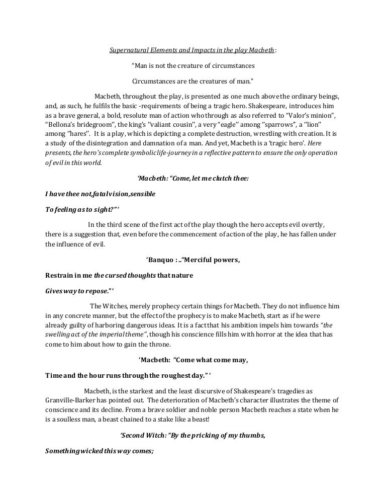 supernatural events occur throughout macbeth essay Mysteries and supernatural events essays the supernatural in macbeth he presents this idea to the audience through different events that occur throughout.