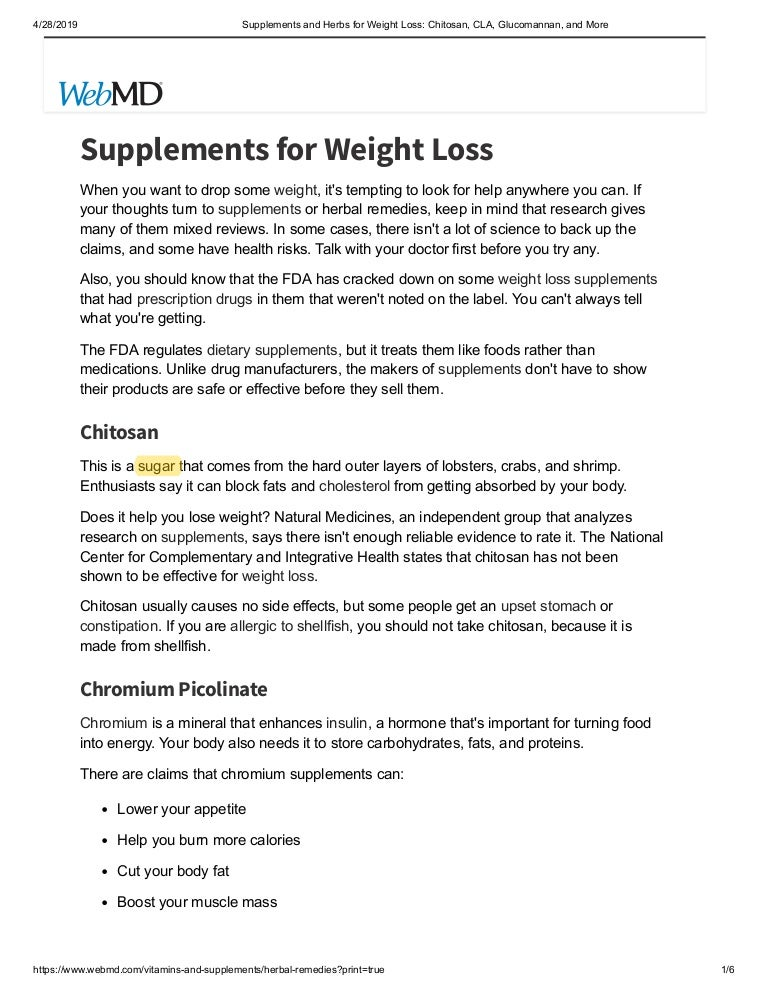 Supplements and herbs for weight loss chitosan, cla