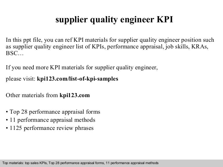 Supplier Quality Engineer Kpi