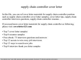 supply chain controller cover letter supply chain manager cover letter