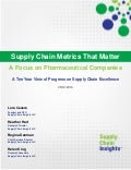 Supply Chain Metrics That Matter: A Focus on Pharmaceutical Companies - 2016