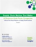 Supply Chain Metrics That Matter – A Focus on Auto Parts Companies 19 SEP 2017