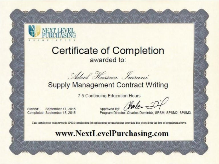Supply Management Contract Writing Certificate Of Completion Awarde