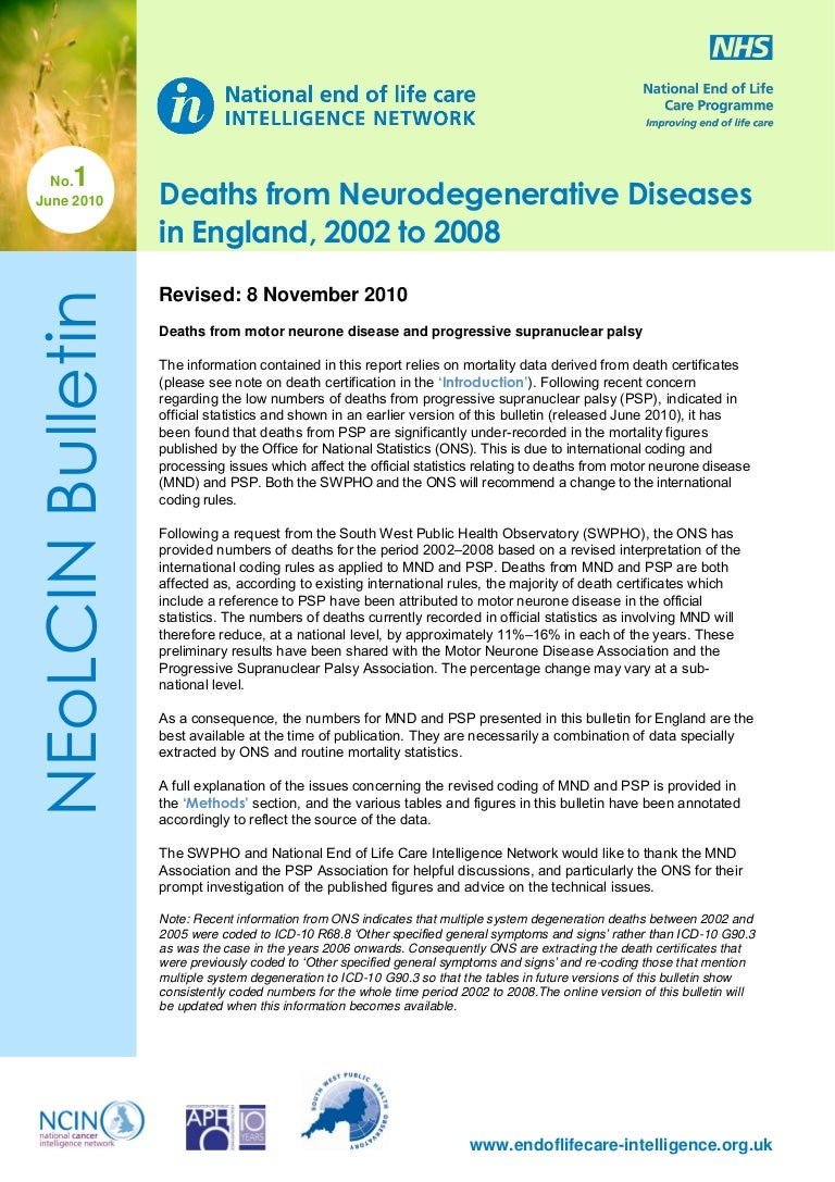 Deaths from Neurodegenerative Diseases in England, 2002 to 2008