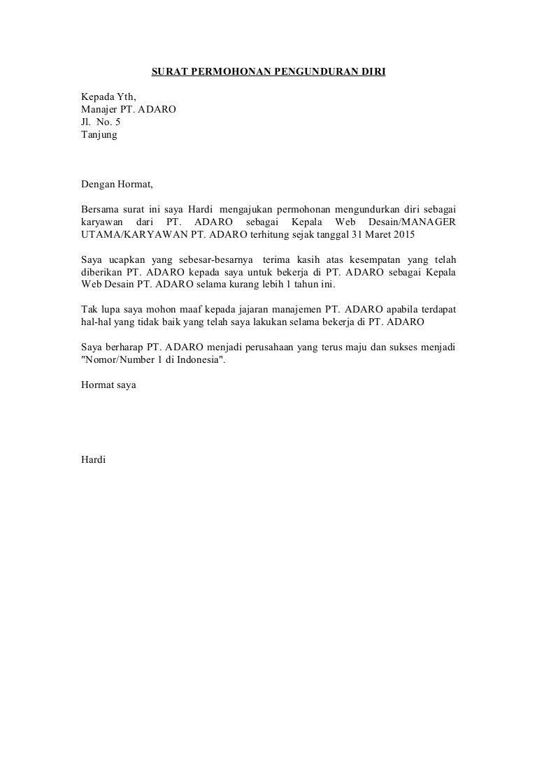 Surat Permohonan Pengunduran Diri Fot Perusahaan Perawat Dan Lain2