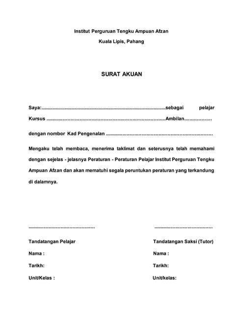 Contoh Surat Akuan Sumpah Zona Ilmu 6