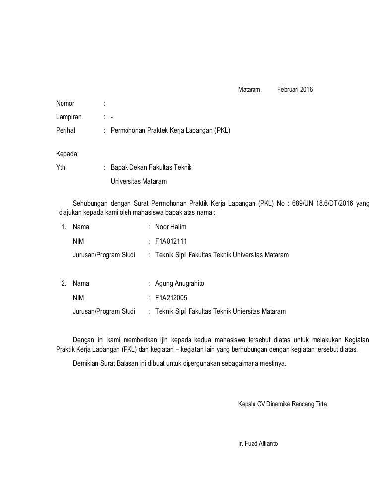 Contoh Surat Balasan Pkl - Backup Gambar