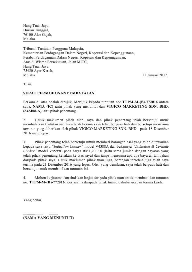Contoh Surat Batal Tuntutan Tribunal