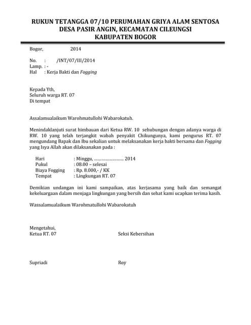 Surat Undangan Kerja Bakti