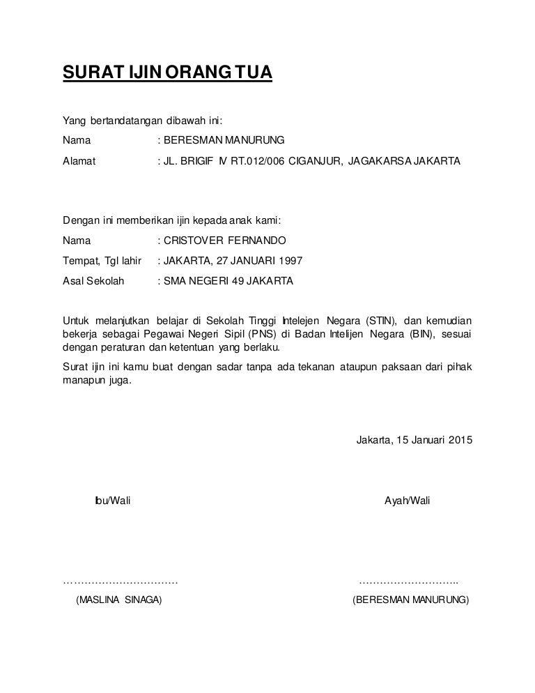 Contoh Surat Pernyataan Orang Tua Untuk Bekerja - Aneka ...