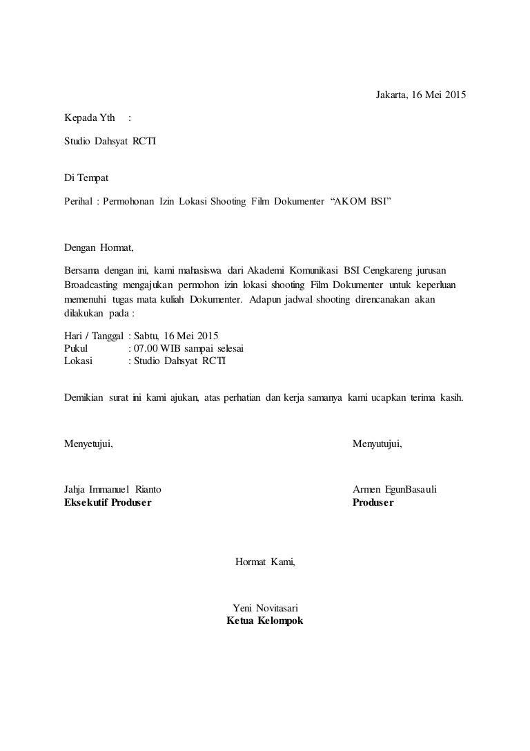 Contoh Surat Izin Lokasi Film Dokumenter