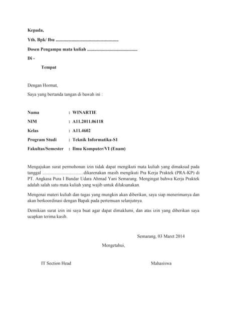 Surat Izin Selama Melaksanakan Kerja Praktek