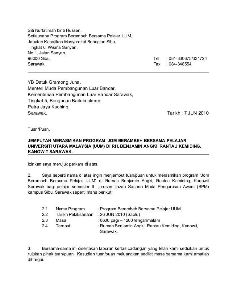 Contoh Surat Jemputan Yb