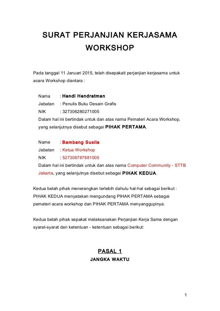 Surat Perjanjian Kerjasama Kesepakatan Workshop