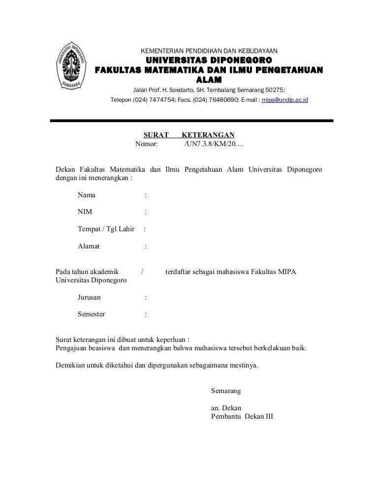 Surat keterangan beasiswa mahasiswa