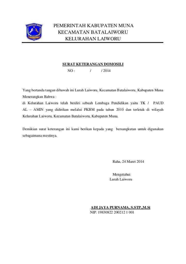 Contoh Surat Keterangan Domisili Lembaga Paud Nusagates