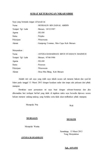 Surat Keterangan Nikah