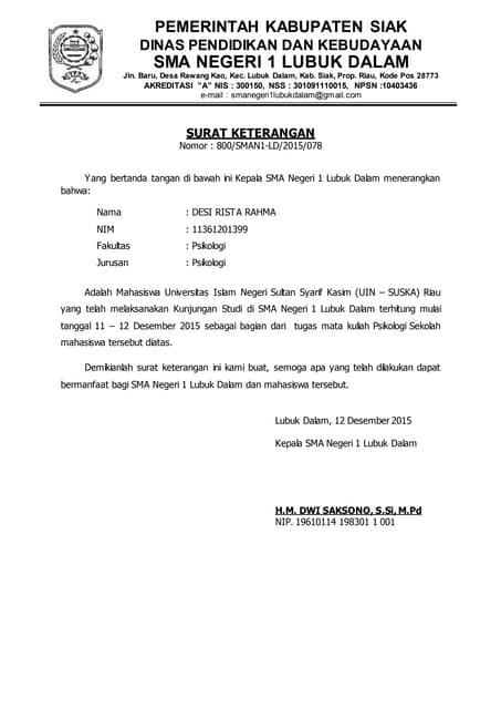 Surat Keterangan Observasi