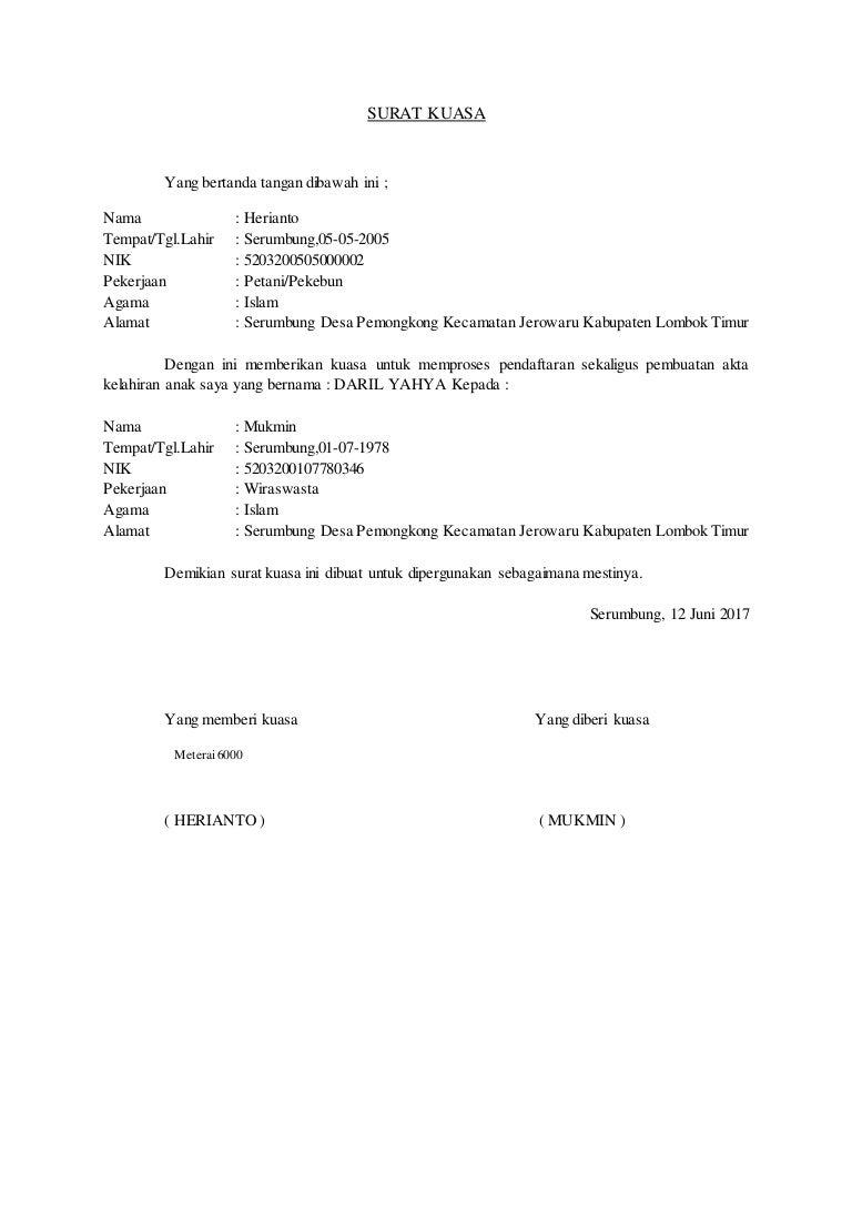 Surat kuasa pembuatan akta kelahiran