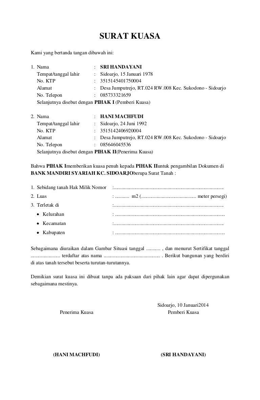 surat kuasa pengambilan