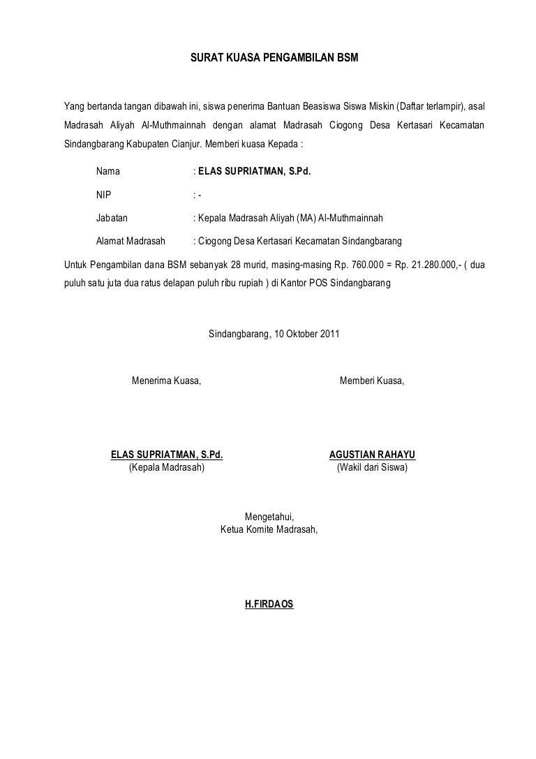 Surat Kuasa Pengambilan Bsm 2011