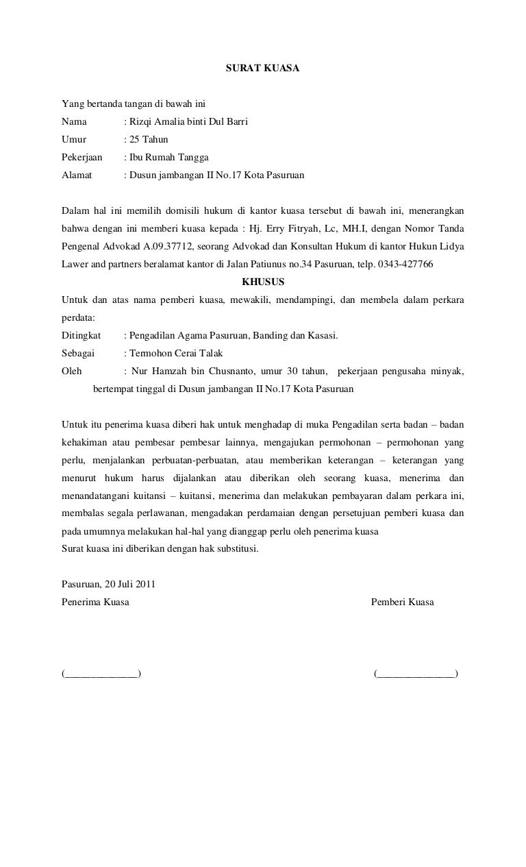 34+ Contoh surat kuasa substitusi terbaru terbaru