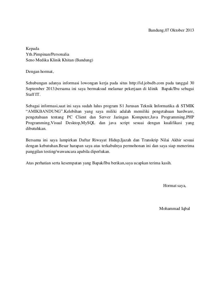 Surat Lamaran Dan Cv Mohammad Iqbal