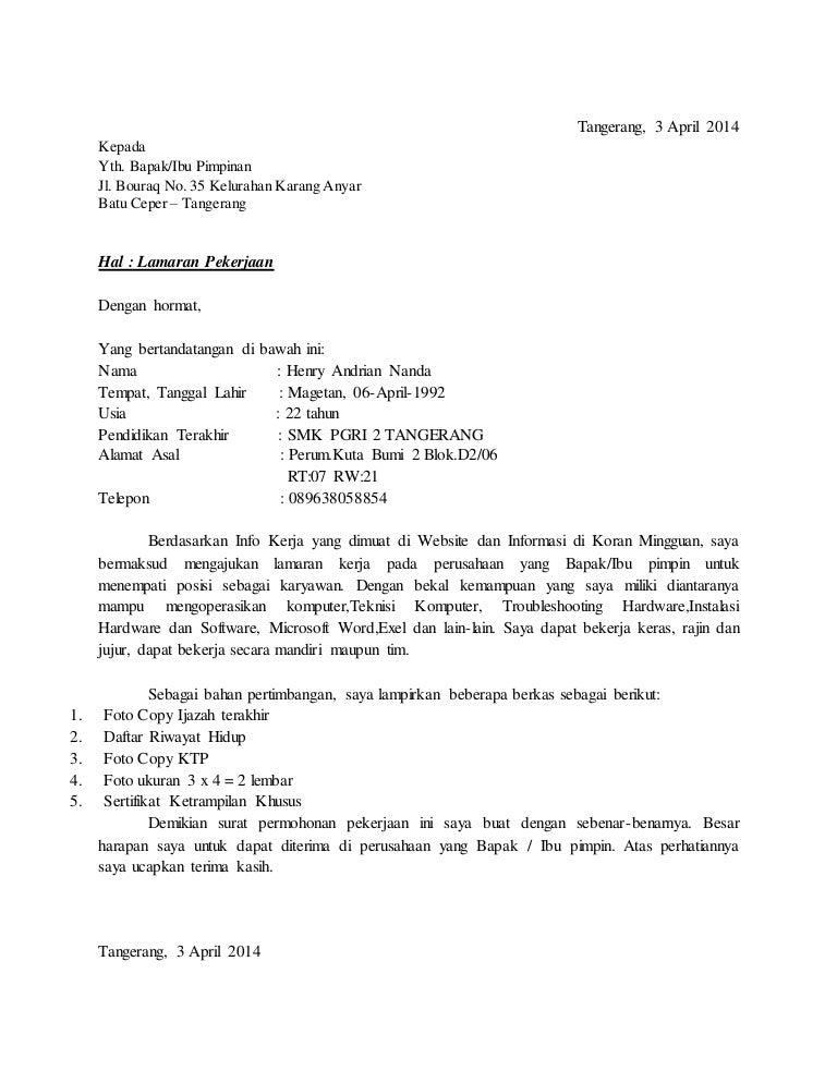 Surat Lamaran Henry