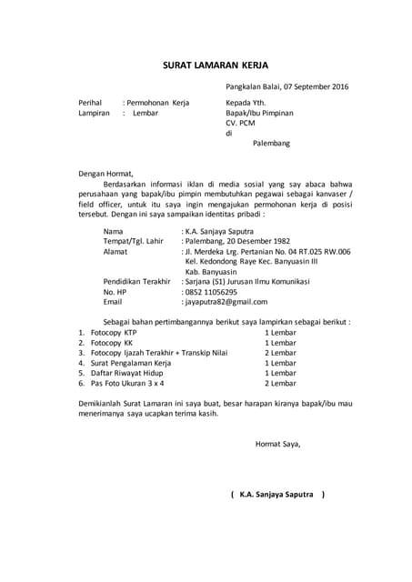 Surat Lamaran Kerja Khairuddin 1